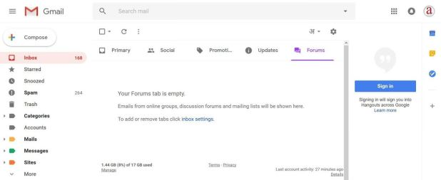 Material design in the new Gmail
