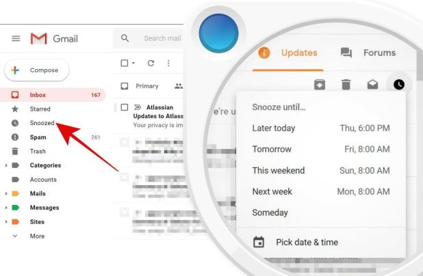 Snooze emails in Gmail