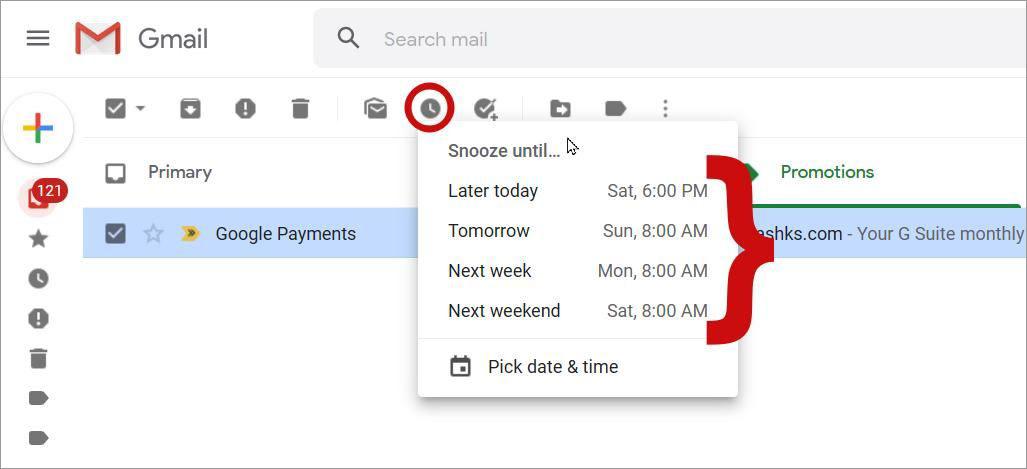 Отложить электронное письмо на потом в Gmail