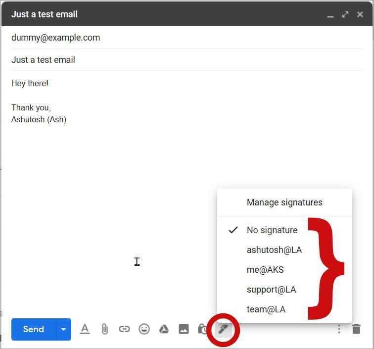 Сменить подпись электронной почты в Gmail