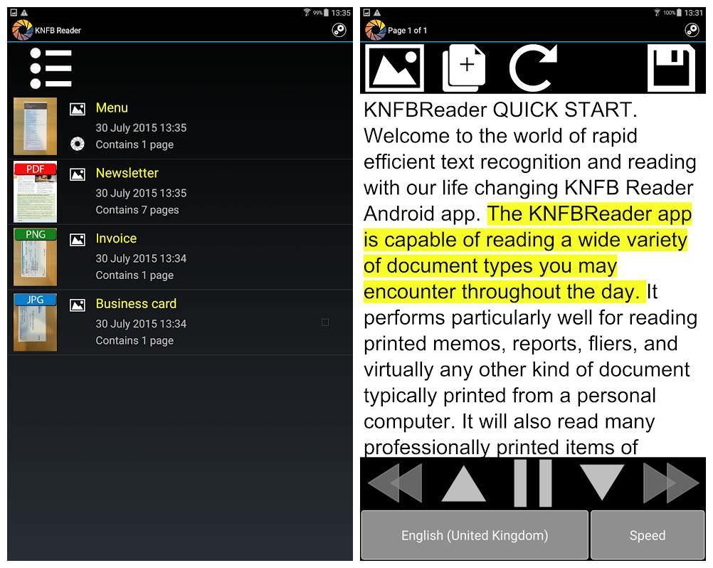 KNFB Reader - это простой конвертер текста в речь