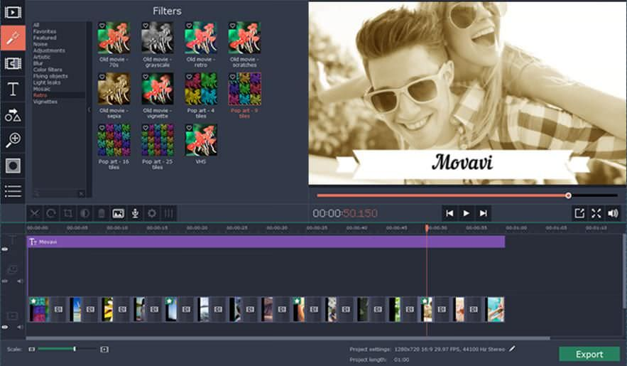 Add filters to video using Movavi