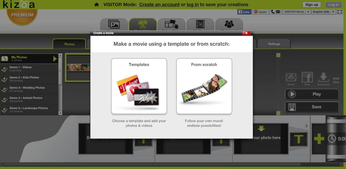 Kizoa's options to create a video