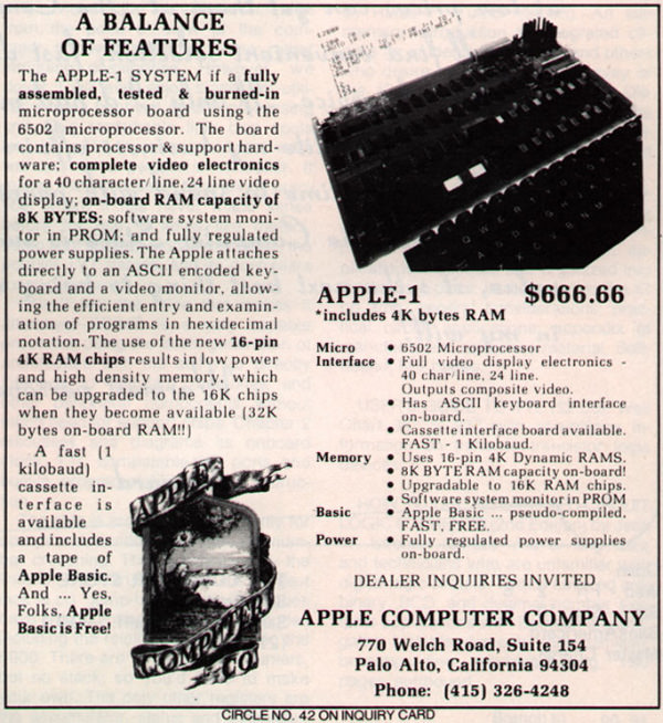 1976 Apple 1 Ad