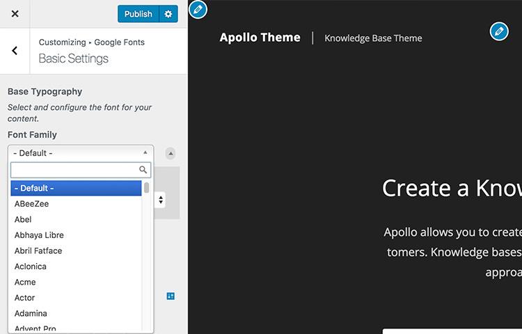 Выбор шрифтов Google на экране настройщика WordPress