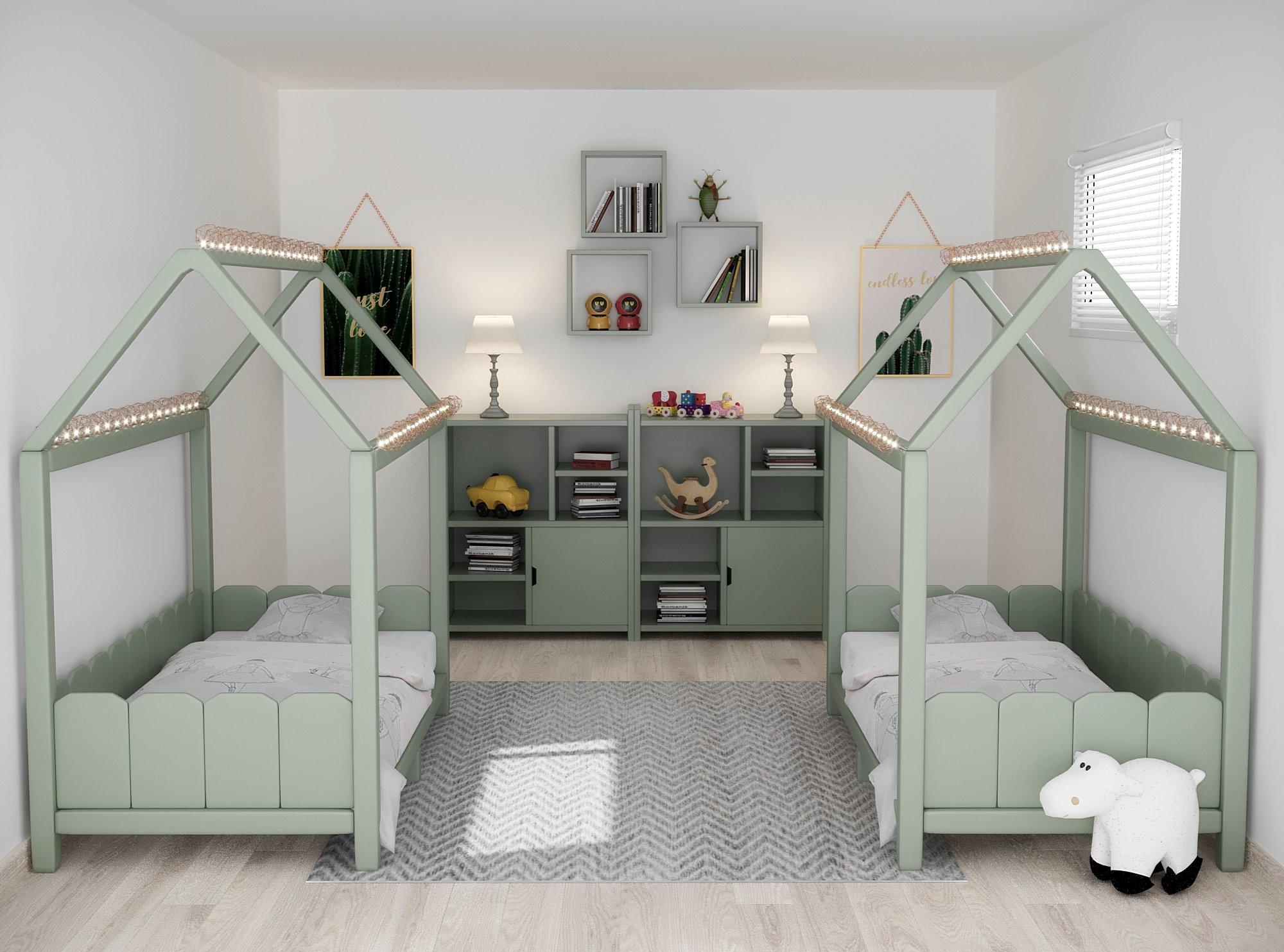 Chambre D Enfant Scandinave Verte Grise Blanche Inspiration Style