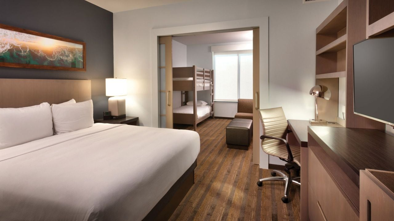 anaheim hotels with kitchen near disneyland red and yellow curtains convenient hotel hyatt house at resort kids suite