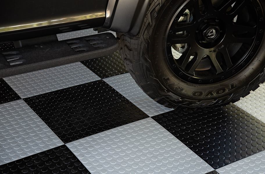 Coin Flex Nitro Tiles Quiet Durable Garage Floor Tiles