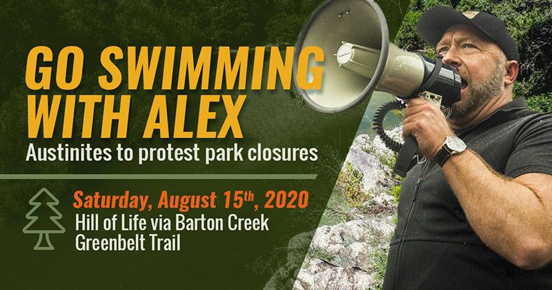 Go Swimming with Alex Jones!