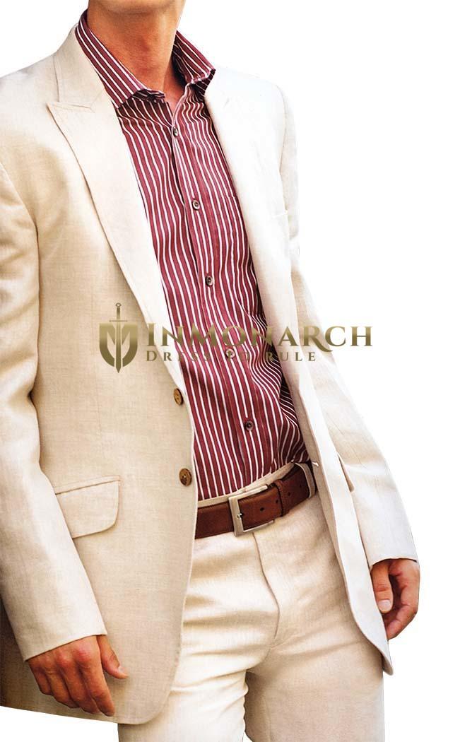Mens Ivory Linen 2 Pc Suit Two Button Peak Lapel  InMonarch