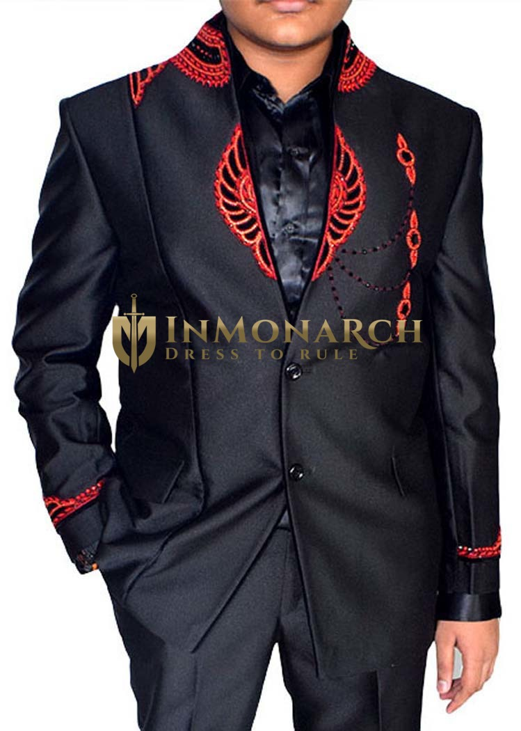 Mens Black 3 Pc Tuxedo Suit Red Embroidered  InMonarch