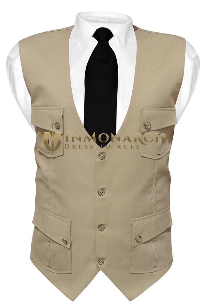 Mens Tan Cotton V Vest Safari 4 Pocket  InMonarch