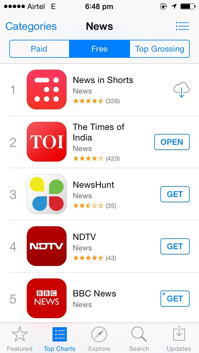 App store number one inshorts