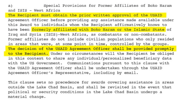 USAID's controversial new grant clause for aid agencies working in Nigeria.