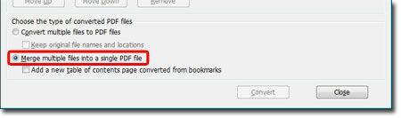 Merge multiple files into a single PDF file