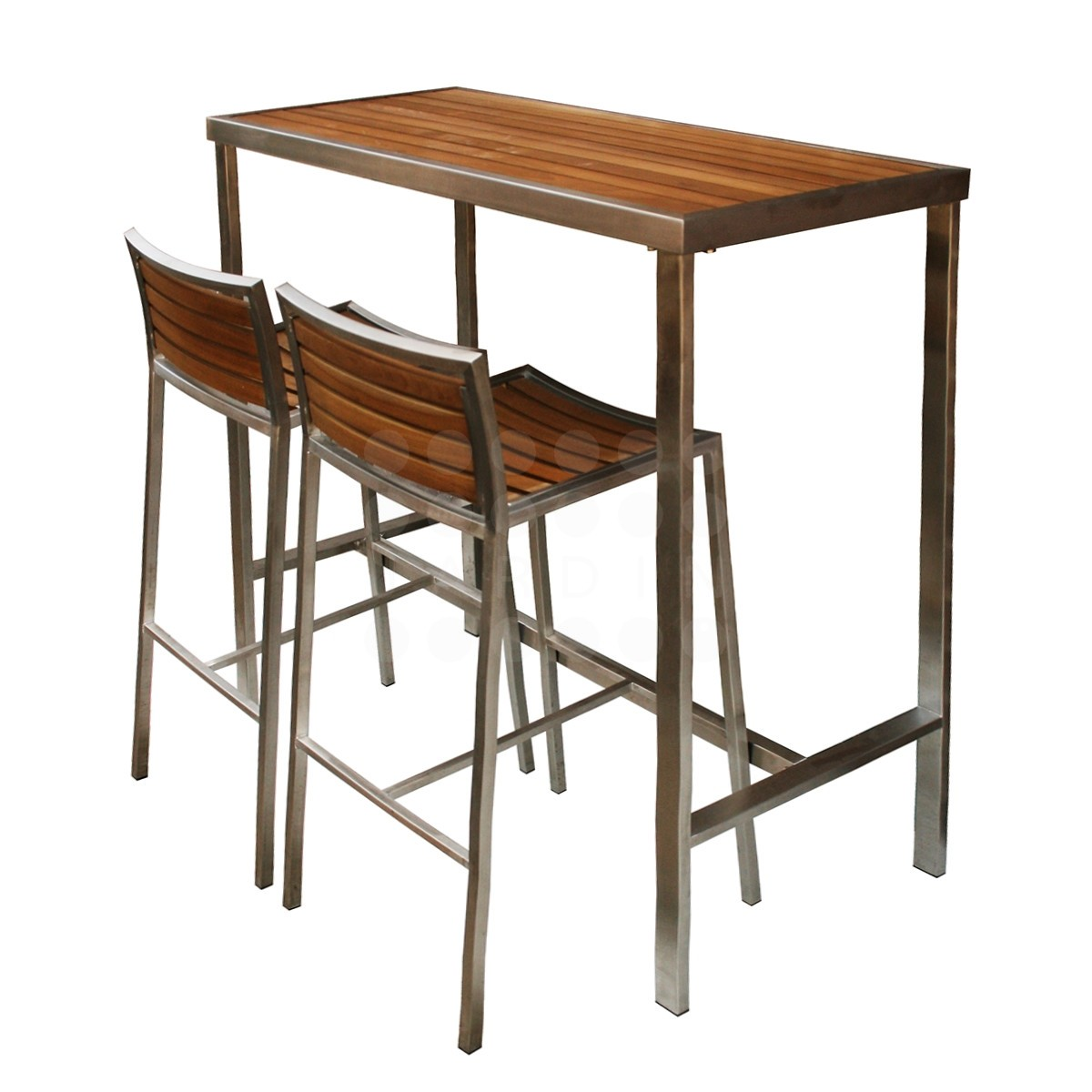 teak bar table and chairs outdoor chair covers home depot evolve high stainless collection
