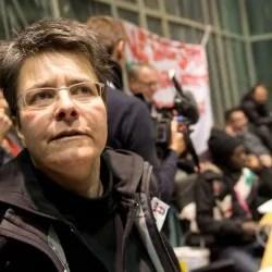 Monika Herrmann (Grüne) vor einer Sitzung der Bezirksverordnetenversammlung, November 2013 Foto: Picture Alliance