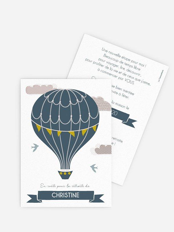 carte invitation depart retraite montgolfiere