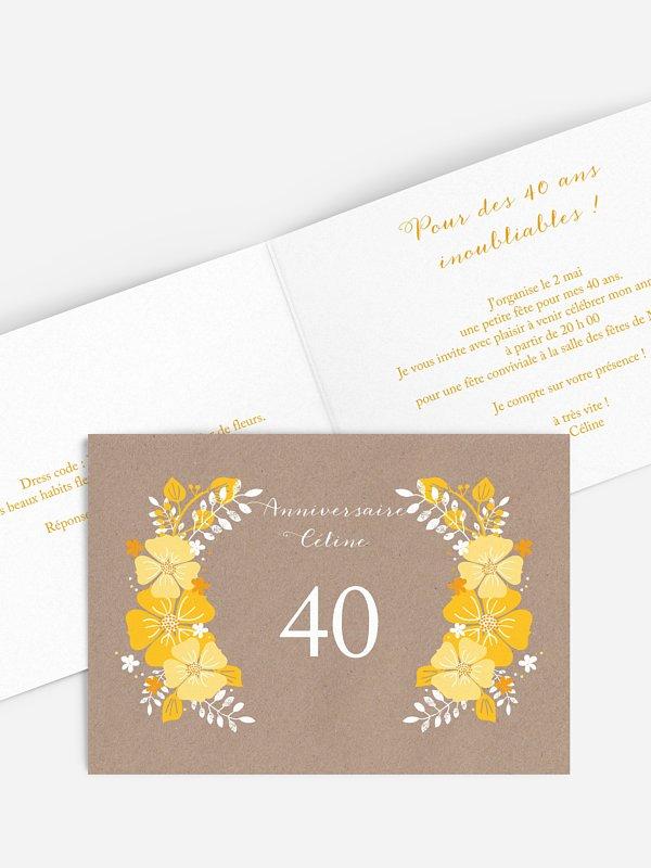 invitation anniversaire 40 champetre printanier