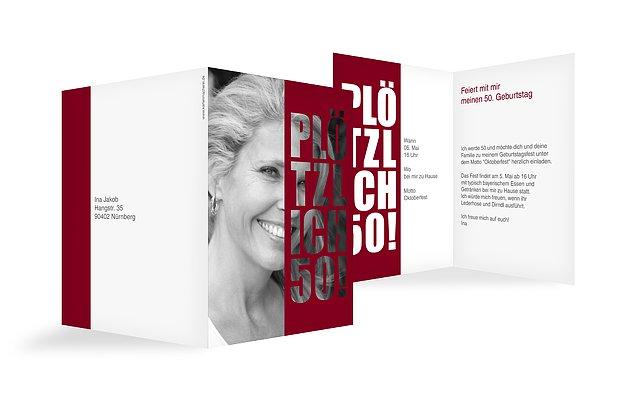 Einladungskarten 50 Geburtstag Pltzlich