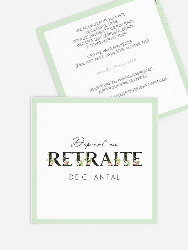 carte invitation depart retraite retraite fleurie