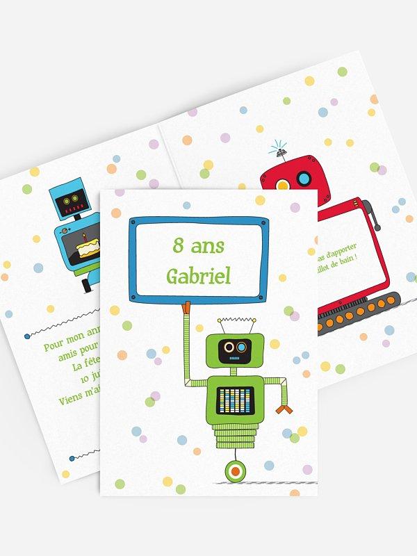 invitation anniversaire enfant robot