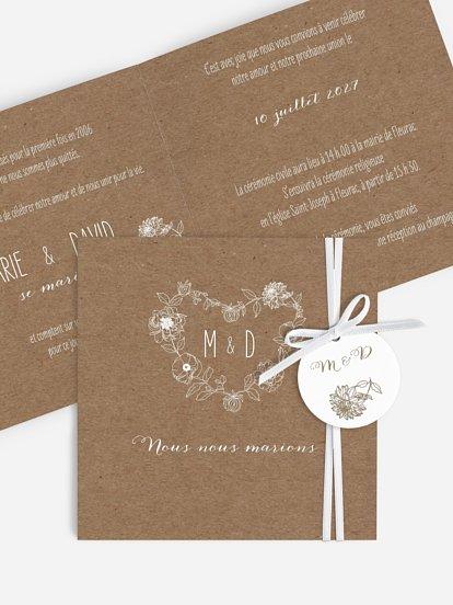 faire part de mariage ronde de dentelle papier kraft