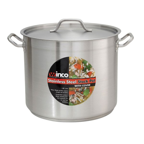 Winco Sst-80 80 Qt Stainless Steel Stock Pot - Induction Ready