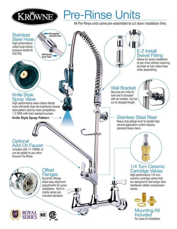 krowne 18 706l 22 1 2 h wall mount pre rinse faucet 1 1 5 gpm base with nozzle
