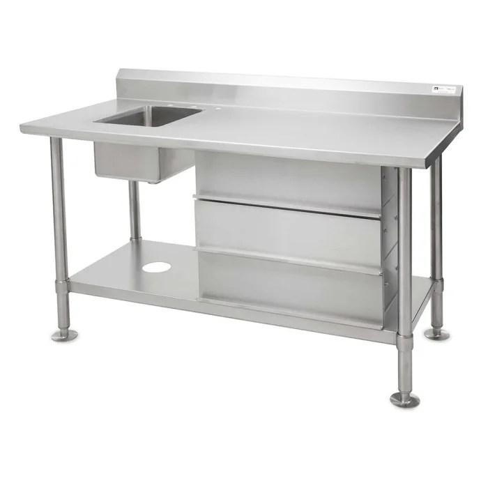 john boos cgs vts54 x 54 work table w 1 left sink 5 backsplash undershelf stainless steel legs