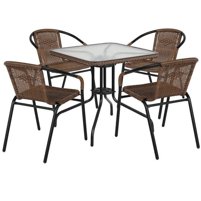 flash furniture tlh 073sq 037bn4 gg 28 square patio table 4 brown rattan arm chair set glass top black metal base