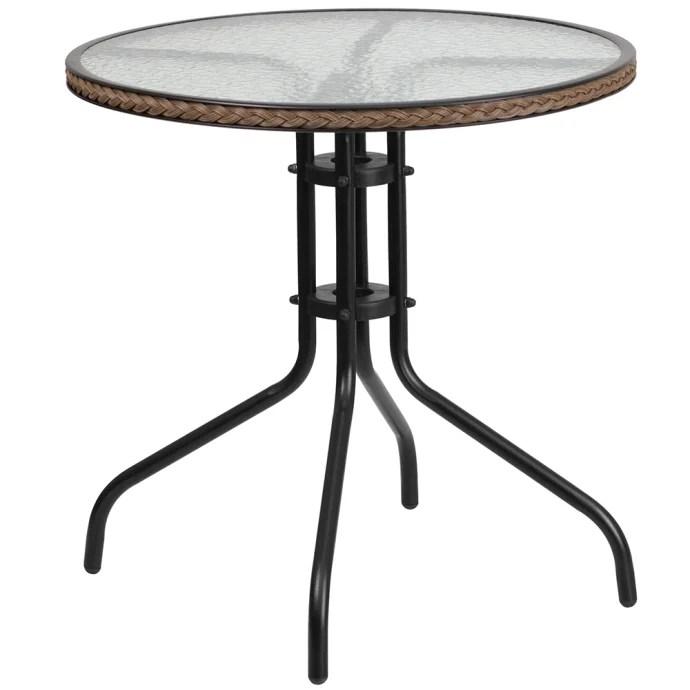 flash furniture tlh 087 dk bn gg 28 round patio table w glass top dark brown rattan edge metal base black