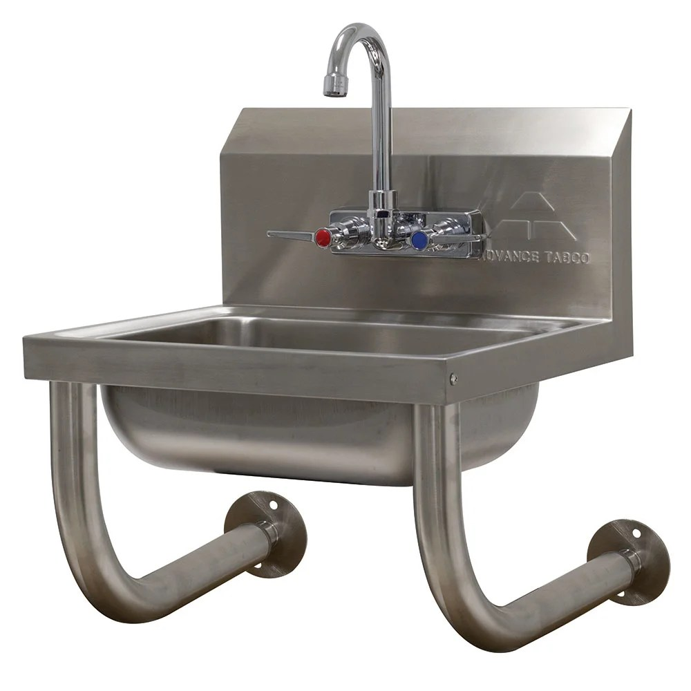 advance tabco 7 ps 64 wall mount commercial hand sink w 14 l x 10 w x 5 d bowl gooseneck faucet