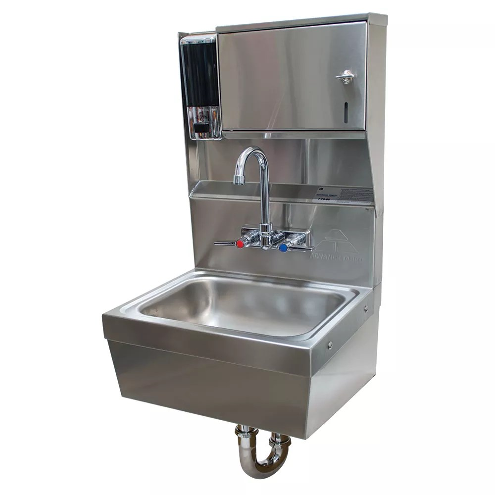 advance tabco 7 ps 85 wall mount commercial hand sink w 14 l x 10 w x 5 d bowl soap dispenser