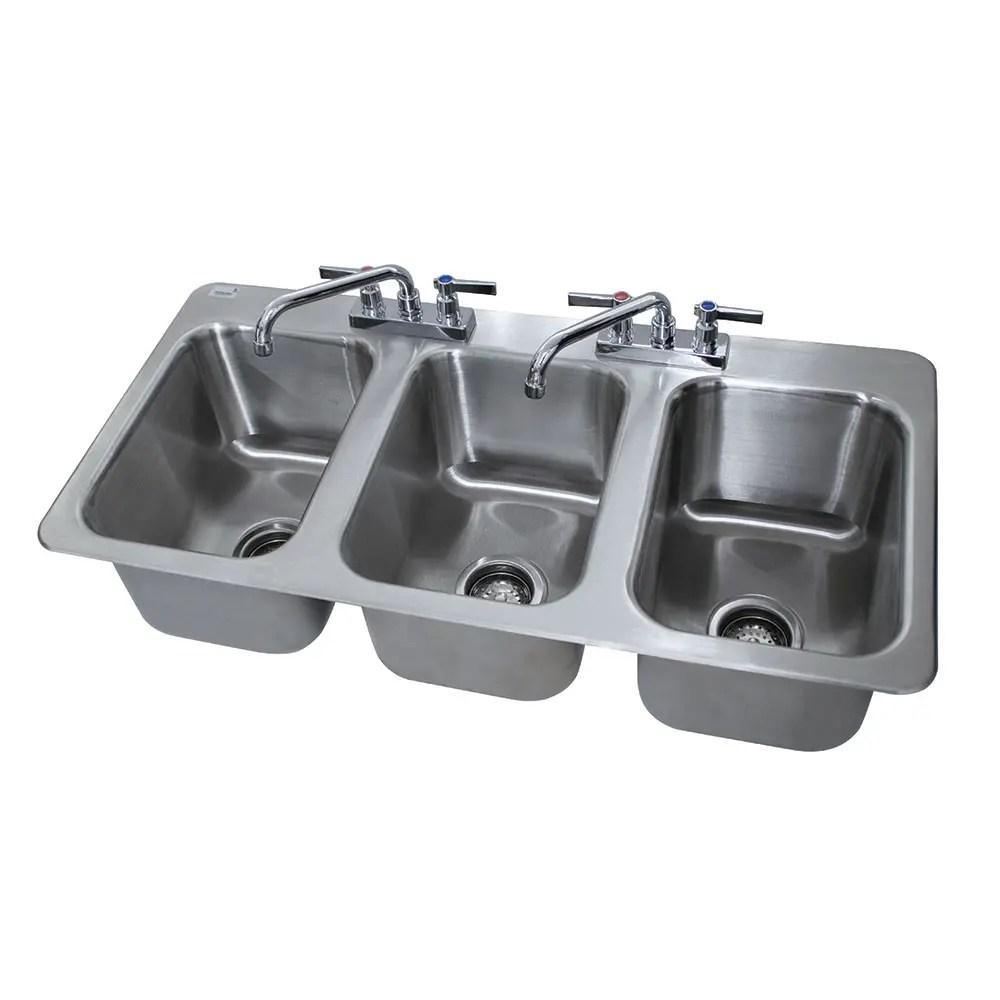 advance tabco di 3 10 3 compartment drop in sink 10 x 14 drain included