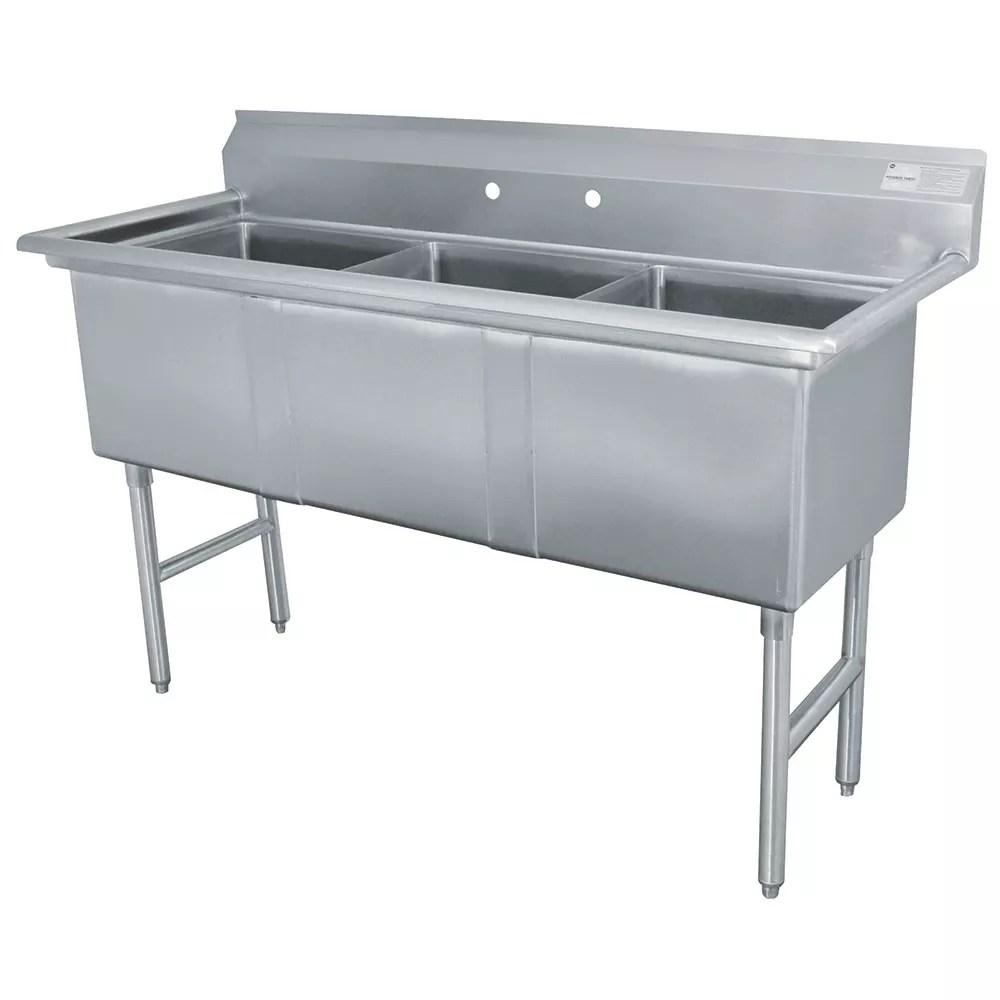 advance tabco fc 3 1818 59 3 compartment sink w 18 l x 18 w bowl 14 deep