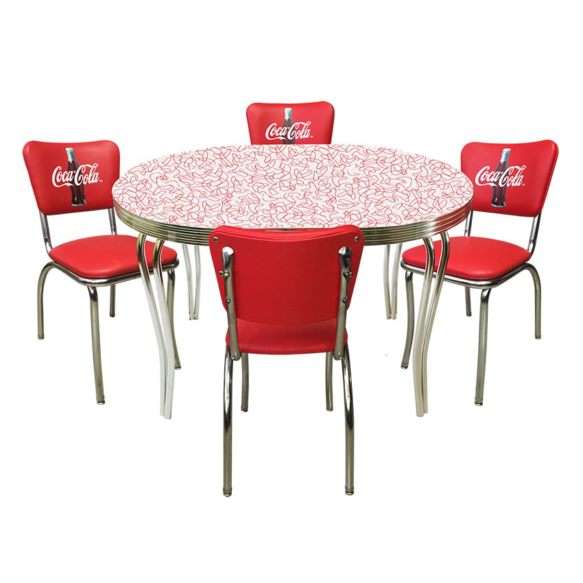 coca cola chairs and tables wedding chair covers liverpool vitro cokedinerset diner set red glacier boomerang table 4