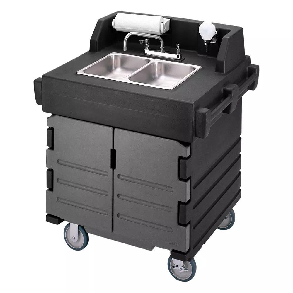 cambro ksc402426 45 1 2 h portable sink cart w 2 4 d bowls hot water