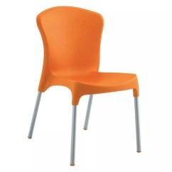 Orange Side Chair Portable Beach With Umbrella Emu 9004 Nido Poly Shell Aluminum 185 9004orange Jpg