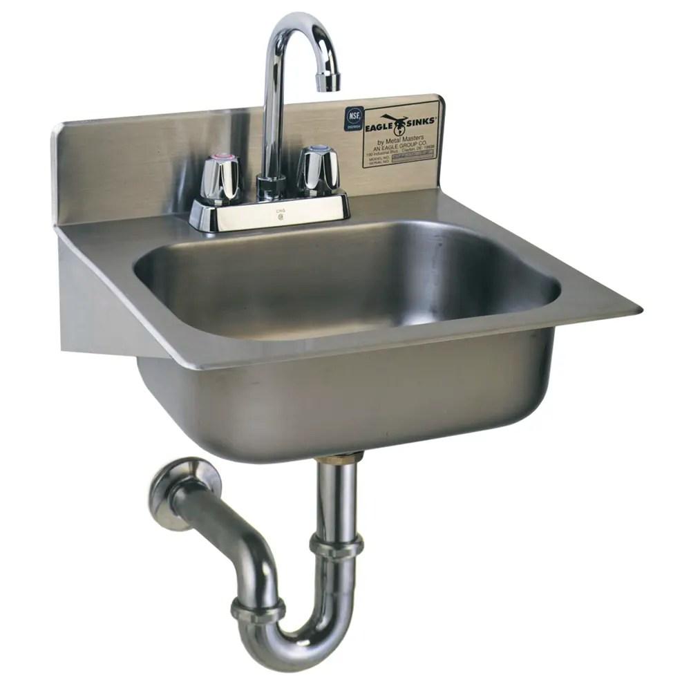 eagle group hsae 10 fa wall mount commercial hand sink w 14 l x 10 w x 5 d bowl gooseneck faucet