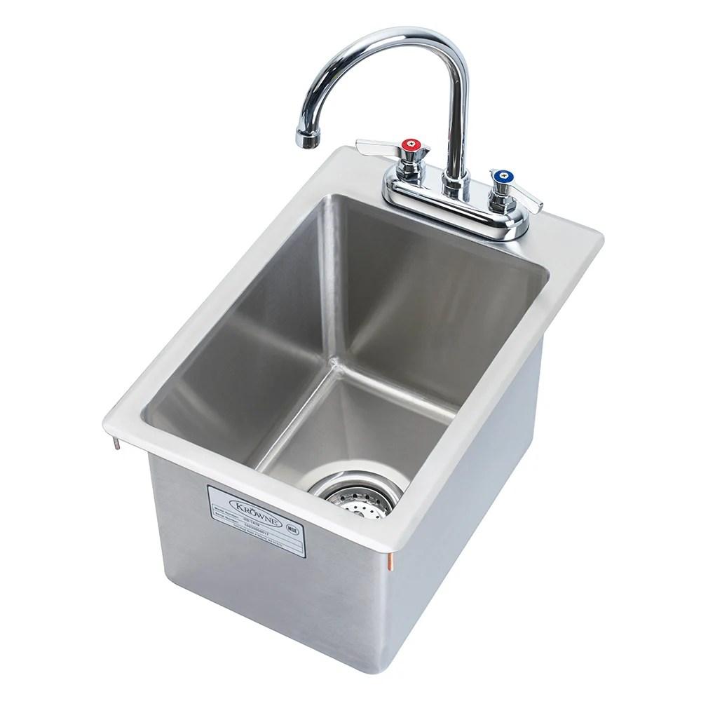krowne hs 1419 drop in commercial hand sink w 10 3 8 l x 14 w x 9 d bowl gooseneck faucet