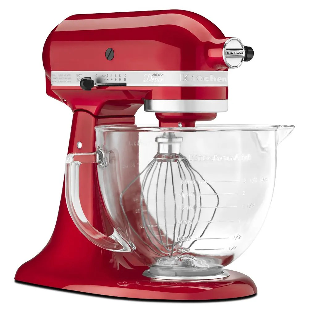 kitchen aid glass bowl island for kitchenaid ksm155gbca 10 speed stand mixer w 5 qt accessories candy apple red