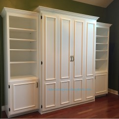 Murphy Bed In Small Living Room Decoration Ideas For Table And Guest Rooms Kentucky Beds White Painted Mdf Full Size Flat Panel Surface Trimmed Doors Two Bookcases