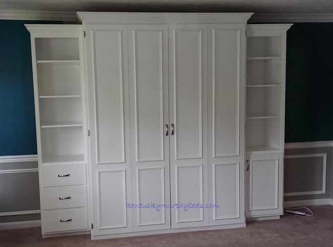 White painted maple queen Murphy bed with bifold doors and two accessory cabinets - closed 2017 Home Show bed