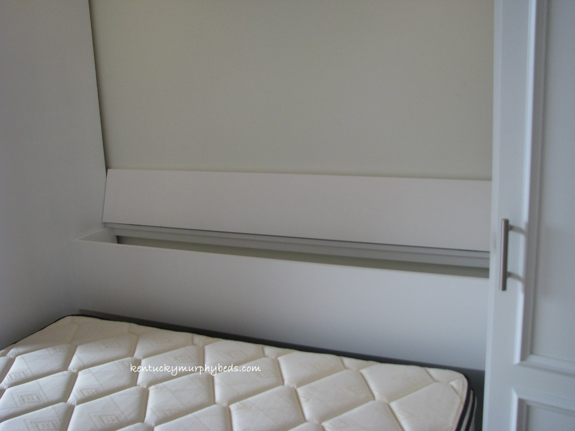 white painted maple queen Murphy bed bifold doors two accessory cabinets, installed in a condominium, space saver, headboard storage, false floor system