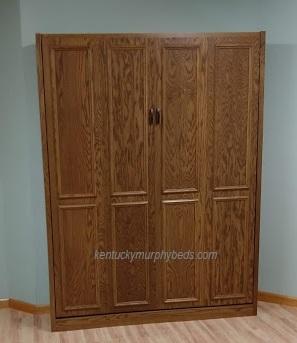 Oak queen panel door Murphy bed with surface trim - closed view