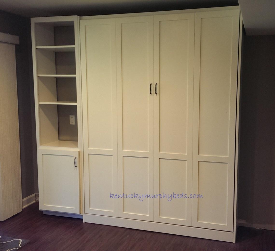 queen size panel door Murphy bed with one bookcase