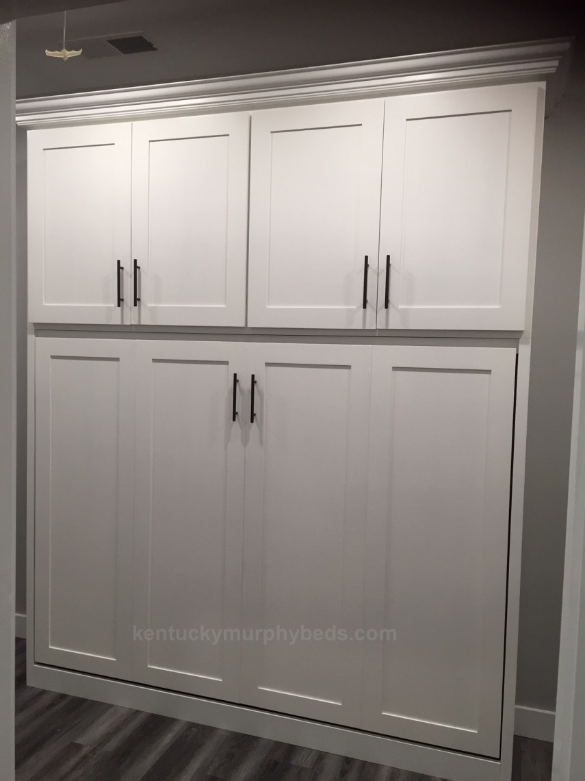 Horizontal full size Murphy bed with top cupboard. 16 inch deep footprint