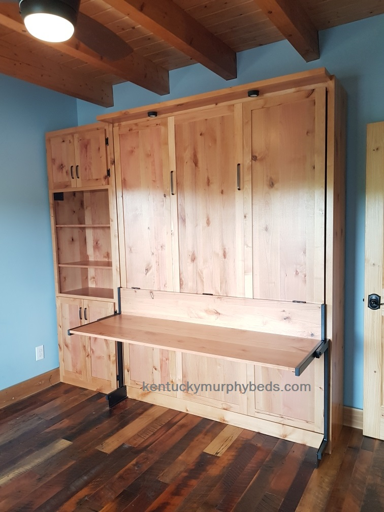 queen size alder desk Murphy bed with bookcase, 2020, amish made, murphy beds of central KY