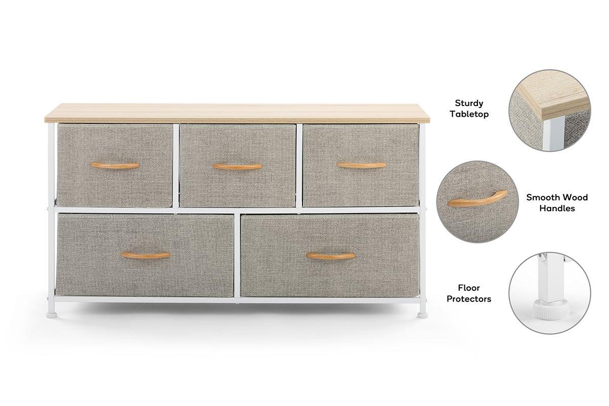 ovela 5 drawer storage chest beige